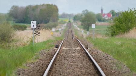 RAILROAD - Freight and passenger train travel route Standard-Bild