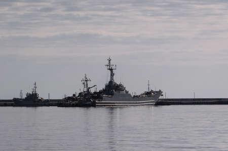WARSHIPS - Landing craft moored in naval base