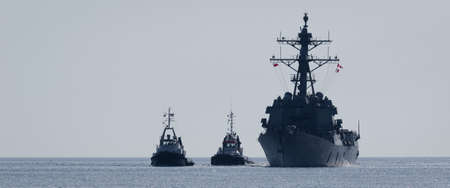 WARSHIP - Guided missile destroyer sails on the sea