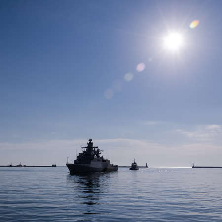 WARSHIP - A German Navy corvette is sails to the port