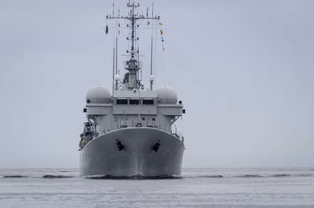 WARSHIP - Belgian Navy minehunter swimming on the sea