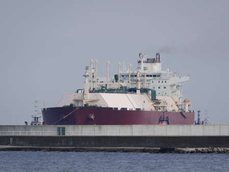 LNG TANKER - Ship sails to the gas terminal in Swinoujscie