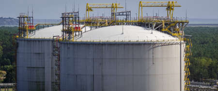 LNG TERMINAL - Two large gas storage tanks