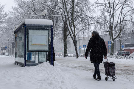 WINTER ATTACK - Moman with the bag goes to bus stop