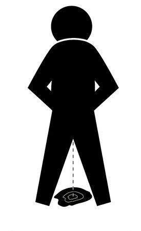 peeing: Black graphic figure peeing on the floor