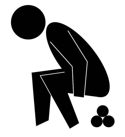 squatting down: Black graphic figure squatting down to poop