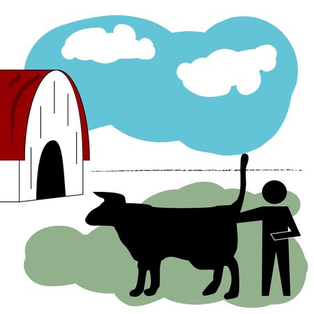 Black graphic figure with arm in the butt of a cow or bull in a farmyard