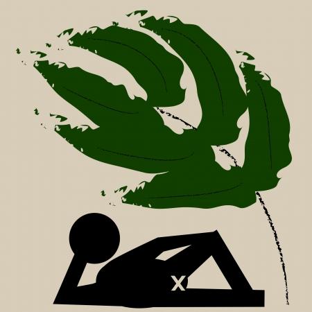 porno: Figura Black grafica di un maschio in posa a fianco con una palma sullo sfondo Archivio Fotografico