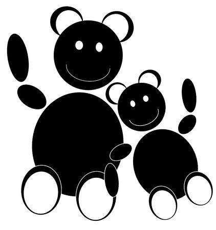 Un petit ours en peluche en s'appuyant sur un plus grand ours en peluche Banque d'images - 3359915