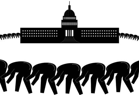 congress: Black graphic figures in a line with their head up the butts of the figure in front of them.  The group circles the White