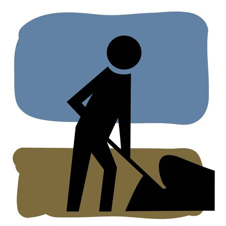 digging: Classic men working graphic figure from street signs set against a brown ground field and blue sky