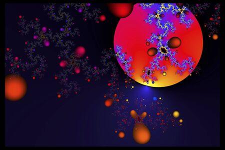 빨간색 떨어지는 모양의 드리프트로 붉은 푸른 행성이나 달이 깊고 푸른 하늘에 뜨다. 스톡 콘텐츠