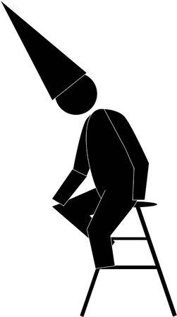 Zwarte Graphic Dunce figuur