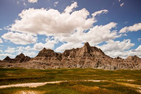 badlands: The rugged mountains of the Badlands National Park in South Dakota Stock Photo