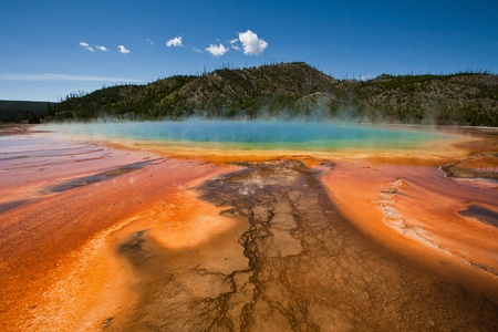 Colorful pools and formations of the Grand Prismatic Springs in Yellowstone National Park photo