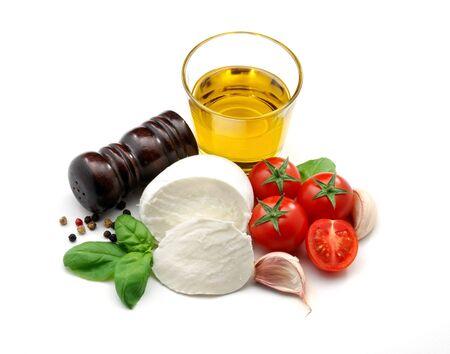 Mozzarella, tomaten en olijf olie Stockfoto