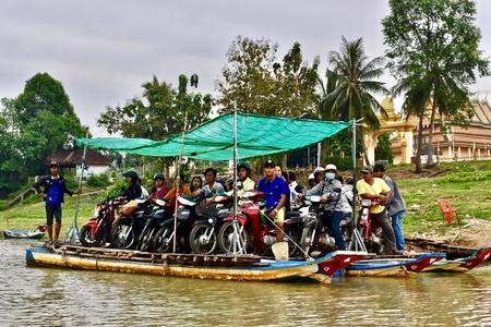Ferry on a river between Battambang and Siem Reap, Cambodia.