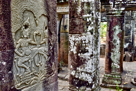 Ancient columns in temple of Angkor, Siem Reap, Cambodia.