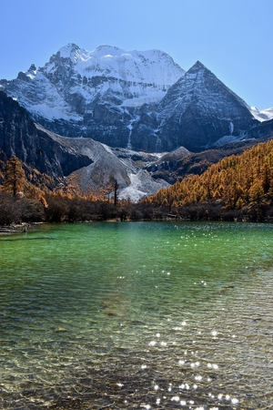 Pearl Lake and Mt. Chenrezig (6025m) in the background, Daocheng Yading Nature Reserve, Sichuan, China