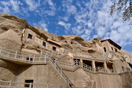 Temple du Grand Bouddha faisant partie des grottes de Mogao (connues également sous le nom de grottes des mille bouddhas ou grottes des mille bouddhas) à Dunhuang, province du Gansu en Chine