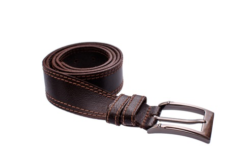 clasps: Fashionable male brown gray leather belt isolated on white background. Stock Photo