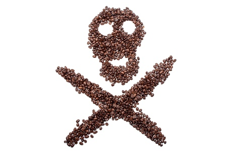 Skull of coffee beans, cheerful roger of coffee, the concept suggests that sometimes coffee can belittle death.