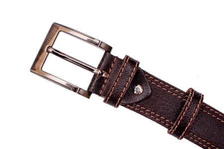 Fashionable male brown gray leather belt isolated on white background. Stock Photo