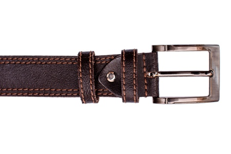 clasps: Fashionable mens brown belt isolated on white background.