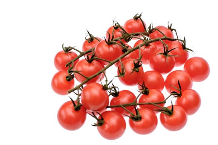 gusty: Red cherry tomatoes isolated on white background.