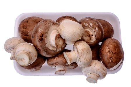 substrate: Mushrooms champignons lie on a white tray, isolated on a white background.