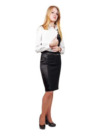 Young smiling business woman isolated over white background photo