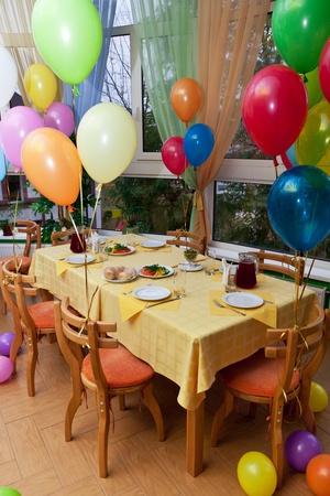 Celebratory table in the children photo
