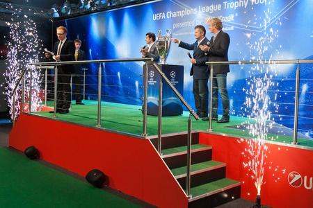 ambassadors: KIEV,UKRAINE SEPTEMBER 30 :UEFA Champions League Trophy Tour 2011 in Kiev, Ukraine September 30,2011. Ambassadors UEFA Aleksey Mihaylichenko, Luis Figo, Davor Suker with Champions League Cup Editorial