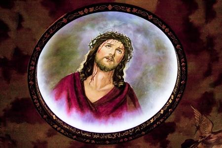 holy land: Jesus with crown of thorns, fresco in Coptic Church, Sharm El Sheikh, Sinai, Egypt