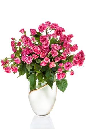 Bouquet Rosen in der Vase, isoliert auf weißem Hintergrund