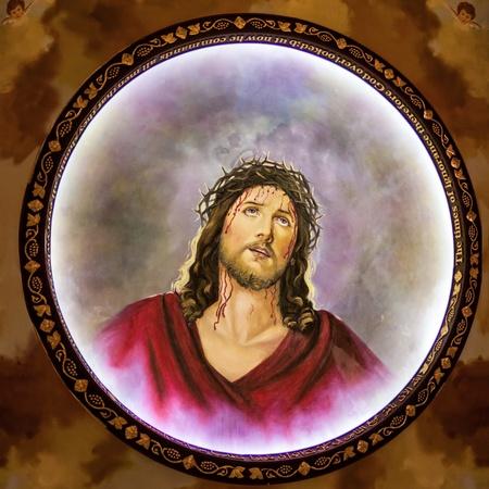 corona navidad: Jes�s con la corona de espinas, el fresco en la iglesia copta, de Sharm El Sheikh, Sina�, Egipto