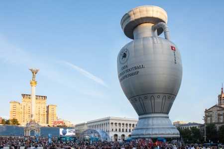 KIEV,UKRAINE, MAY 12: presentation Cup Henri Delaunay UEFA European Football Championship in Kiev, Ukraine May 12, 2012 Balloon shape cups European Football Championship