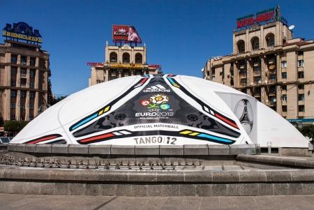 KIEV,UKRAINE, MAY 25: Constructed in the form of soccer ball of Euro 2012 Tango_12, UEFA European Football Championship in Kiev, Ukraine May 25, 2012