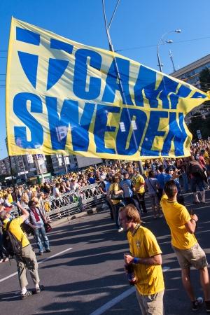 KIEV,UKRAINE, JUNE 11. Fans of the Swedish national team before the match of European Championship between Sweden and Ukraine in Kiev, Ukraine June 11, 2012 .