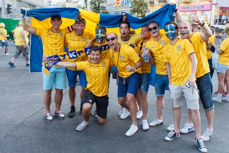KIEV,UKRAINE, JUNE 11. Fans of the Swedish national team before the match of European Championship between Sweden and Ukraine in Kiev, Ukraine June 11, 2012 .