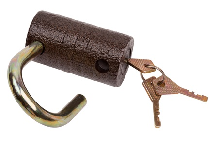 Brown cylindrical lock and keys isolated on white background   photo