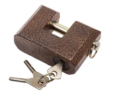 Rectangular brown lock and keys isolated on white background Stock Photo - 14978443
