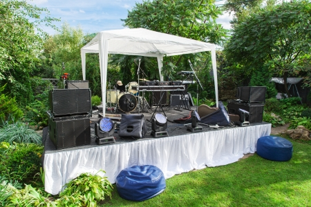 Scene for musicians perform at private party Stock Photo