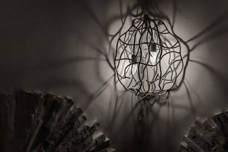 Vintage wall lamp monochrome photo