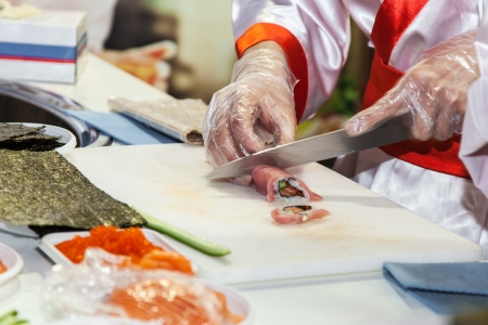 Process of making Japanese sushi rolls