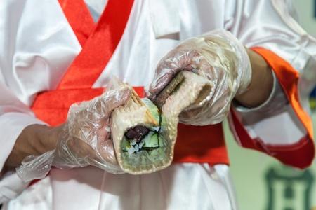 Process of making Japanese sushi rolls Stock Photo - 16426010