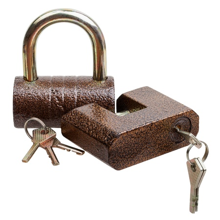 Two locks and keys isolated on white background, with clipping path Stock Photo - 16531336