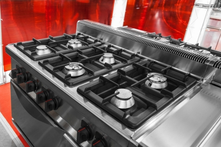 Modern gas stove and oven in stainless steel Stock Photo