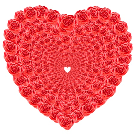 Heart shaped of red roses isolated over white background Stock Photo - 17070232