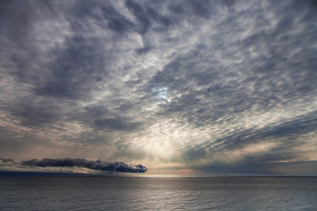 Sunrise over the sea, marine landscape photo